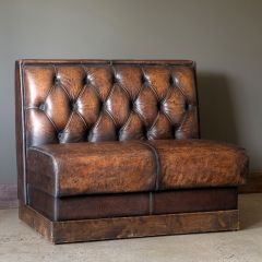 Distressed Leather Restaurant Booth