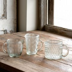 Glass Patterned Pouring Cups Set of 3