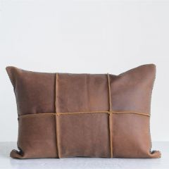 Leather And Felt Throw Pillow