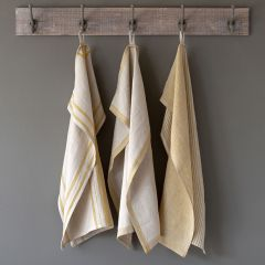 Soft Stripe Linen Dish Towel Set of 3
