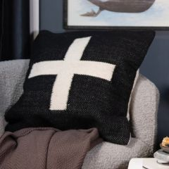 Embroidered Swiss Cross Accent Pillow