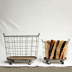 Metal Rolling Laundry Baskets Set of 2