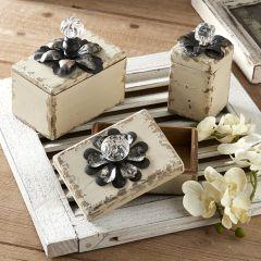 Crystal Knob Wooden Box Set of 3