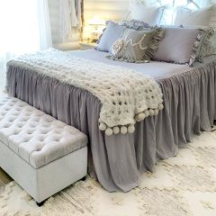 Simple Ruffle Smoky Bedspread Set