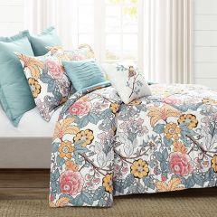 7 Piece Floral Pattern Comforter Set