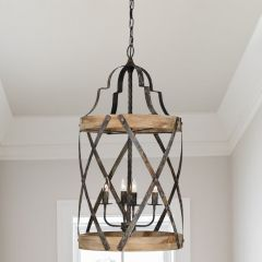 Wood and Metal Tavern Chandelier
