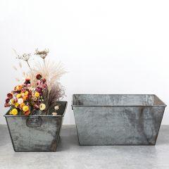 Galvanized Metal Rectangular Planter Set of 2