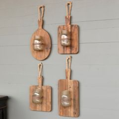 Cutting Board Sconce With Jar Vase Set of 4