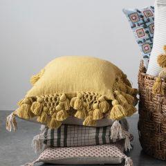Square Crochet And Tasseled Slub Pillow With Fringe