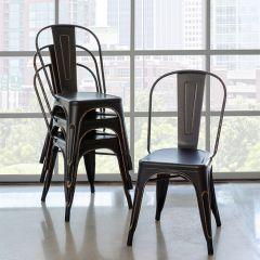 Distressed Black Metal Bistro Chair