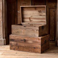 Wooden Storage Trunk Box Set of 2