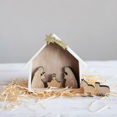 6 Piece Wooden Farmhouse Nativity Set
