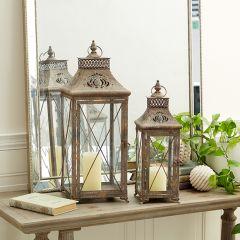 Contemporary Farmhouse Candle Lantern Set of 2