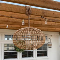 Rope Hanging Wicker Pendant Light