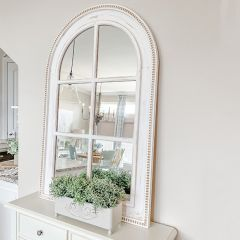 Distressed Arched Windowpane Mirror