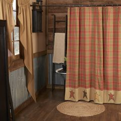 Rustic Plaid Star Shower Curtain