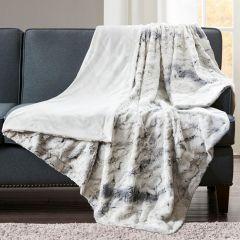 Faux Fur Oversized Throw Blanket Grey