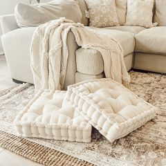 Ivory Classic Cottage Square Floor Cushion