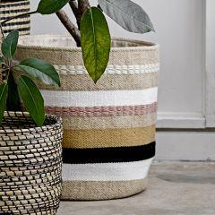 Striped Woven Storage Basket