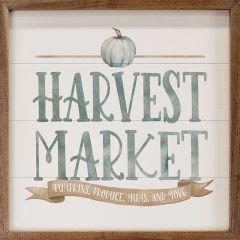 Watercolor Blue Harvest Market Pumpkin White Framed Sign