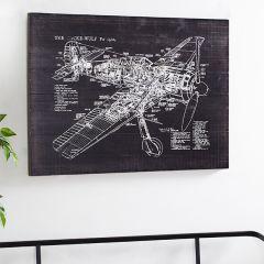 Airplane Diagram Wood Wall Decor