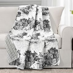 Reversible French Country Toile Throw Blanket