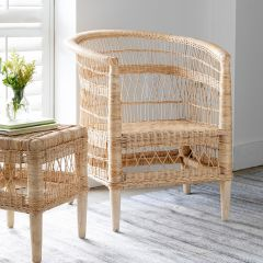 Curved Back Natural Rattan Accent Chair