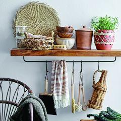 Wall Shelf with Rod and Hooks