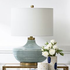 Striped Ceramic Lamp With Linen Shade