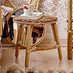 Round Woven Rustic Accent Stool