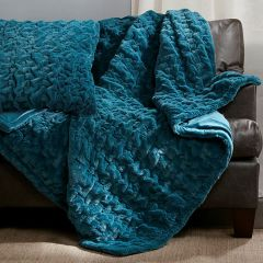 Ruched Faux Fur Throw Blanket Teal