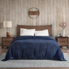 Cozy Berber Bed Blanket Navy
