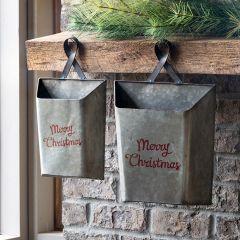 Merry Christmas Metal Wall Pocket Set of 2