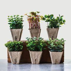 Faux Plants in Paper Pots Set of 6