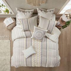 3 Piece Geometric Print Reversible Comforter Set