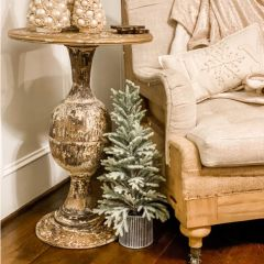 Round Distressed Metal Side Table