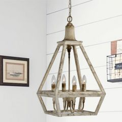 Distressed Style 4 Bulb Pendant Light