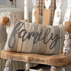Appliqued Farmhouse Family Accent Pillow
