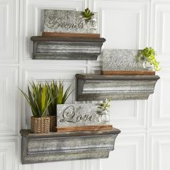 Galvanized Metal and Wood Floating Shelves Set of 3