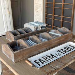Divided Wood Farmhouse Tabletop Caddy