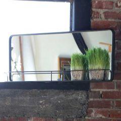 Long Metal Wall Mirror With Shelf