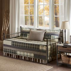 5 Piece Plaid Day Bed Cover Set