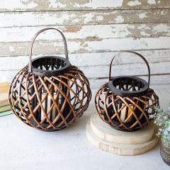 Round Hanging Willow Candle Lantern