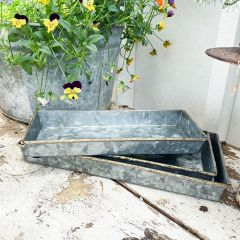 Galvanized Metal Farm Tray Set of 3