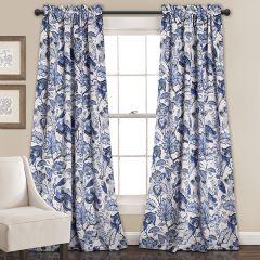 Floral Pattern Room Darkening Curtain Panel Set of 2