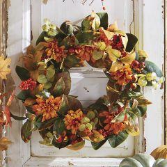 Dahlia With Greenery Wreath