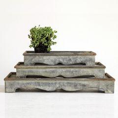 Decorative Galvanized Tray Pedestals Set of 3