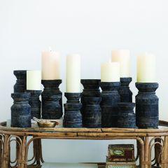 Vintage Wood Candle Holder Collection Set of 6