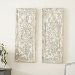 French Country Distressed Wall Plaque Panel Set of 2
