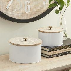 Round Lidded Farmhouse Nesting Boxes Set of 2